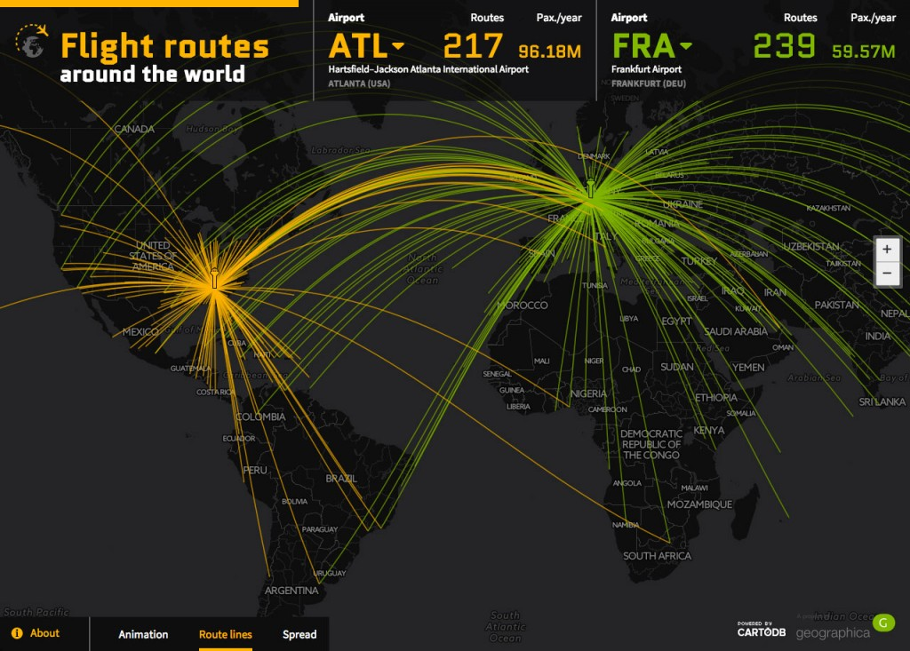 Routes Hartsfield–Jackson Atlanta International Airport and Frankfurt Airport. Year 2014.